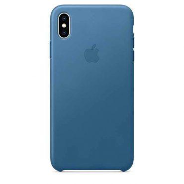 كفر جلدي أصلي لآيفون XS Max  من Apple - أزرق ناعم