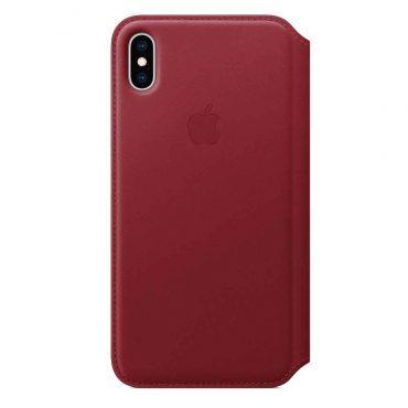 كفر جلدي أصلي دفتر لآيفون XS  من Apple - أحمر