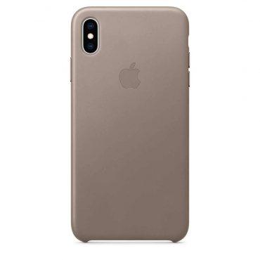كفر جلدي أصلي لآيفون XS Max  من Apple - رمادي داكن