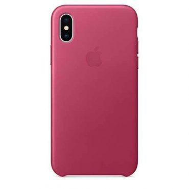 كفر جلدي أصلي لآيفون X من Apple - وردي فوشي