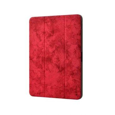 كفر من الجلد الفاخر مع حامل قلم آبل لجهاز iPad Pro 11 إنش (2018) - أحمر
