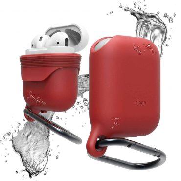 غطاء ضد الماء لسماعات آبل - أحمر