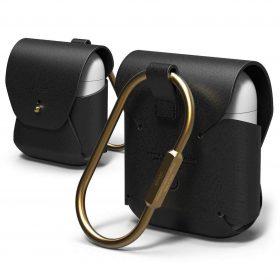 محفظة جلدية مميزة لسماعات آبل - أسود