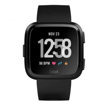سوار المعصم الرياضيVersa مع متتبع ضربات القلب من Fitbit - أسود (مقاس S/L)