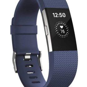 سوار المعصم الرياضي Charge 2 مع متتبع ضربات القلب من Fitbit - أزرق (مقاس S)