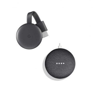 مجموعة جوجل سمارت TV تضم google home mini مع جهاز Chromecast الجيل الثالث - جوجل