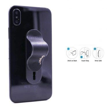 حزام الأصبع الجلدي للهاتف المحمول مع قطعتي تركيب من Gripon - أسود