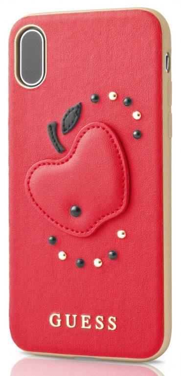 كفر الجلد المقوى للآيفون اكس - برسمة التفاحة الحمراء - لون أحمر