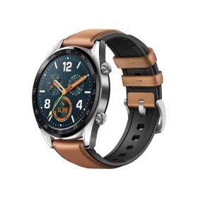 ساعة ذكية GT مع حزام سيليكون جلدي بني - Huawei