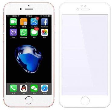 شاشة حماية زجاجية بحواف منحنية ثلاثية الأبعاد لآيفون 8 Plus من Porodo - أبيض