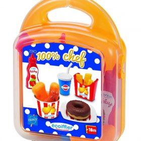 لعبة وعاء الدونات وشرائح الدجاج 100% CHEF - Nuggets and Donuts Case