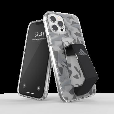 كفر مع حامل Adidas - SPORT Apple iPhone 12 Pro Max Clear Grip Case or Stand - أسود  رمادي