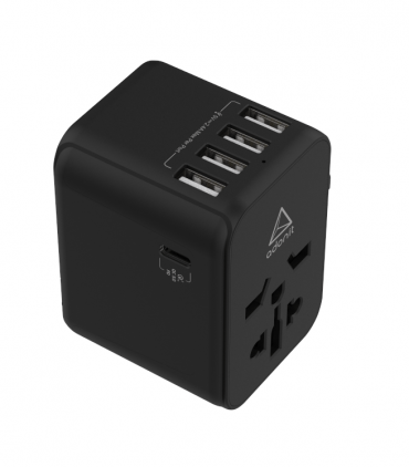 ADONIT Universal Adapter 4A1C - International Wall Charger PD 30W (4 USB-A + 1 USB-C) - Black