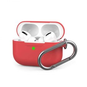 غطاء سيليكون مع سلسلة لسماعات Airpods Pro  - أحمر