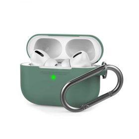 غطاء سيليكون مع سلسلة لسماعات Airpods Pro  - أخضر داكن