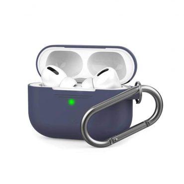 غطاء سيليكون مع سلسلة لسماعات Airpods Pro  - كحلي
