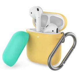 غطاء ثنائي اللون من السيليكون مع سلسلة لسماعات Airpods- أصفر/ أخضر ربيعي