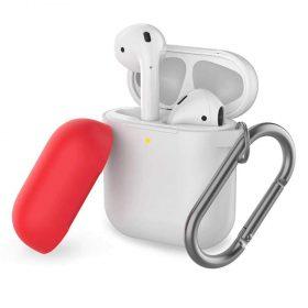 غطاء ثنائي اللون من السيليكون مع سلسلة لسماعات Airpods- أبيض/ أحمر