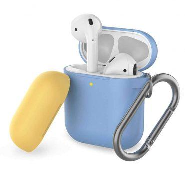 غطاء ثنائي اللون من السيليكون مع سلسلة لسماعات Airpods- أزرق سماوي/ أصفر