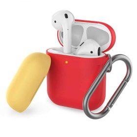غطاء ثنائي اللون من السيليكون مع سلسلة لسماعات Airpods- أحمر/ أصفر