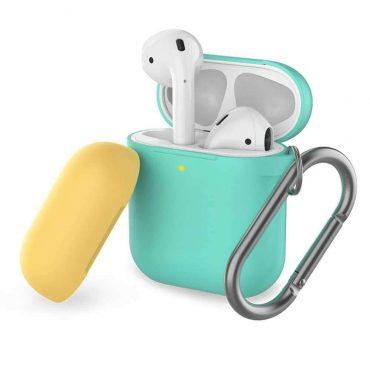 غطاء ثنائي اللون من السيليكون مع سلسلة لسماعات Airpods- أخضر / أصفر