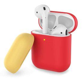 غطاء ثنائي اللون من السيليكون لسماعات Airpods- أحمر/ أصفر