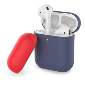 غطاء ثنائي اللون من السيليكون لسماعات Airpods- كحلي/ أحمر