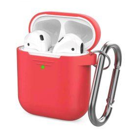 غطاء من السيليكون مع سلسلة لسماعات Airpods- أحمر