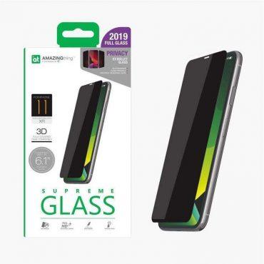 "شاشة حماية AMAZINGTHING - AT IPHONE XI 6.1"" 0.3M 3D PRIVACY EX-BULLET DUST F GLASS - أسود"