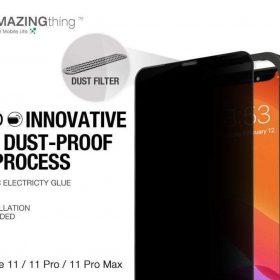 "شاشة حماية AMAZINGTHING - AT IPHONE 11 PRO 5.8"" 0.3M 2.75D MATTE PRIVACY EX-BUL DUST F GLASS - أسود"