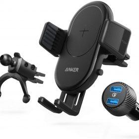حامل هاتف محمول للسيارة ANKER  POWERWAVE 7.5 CAR MOUNT 2-PORT QUICK CHARGE 3.0  - أسود