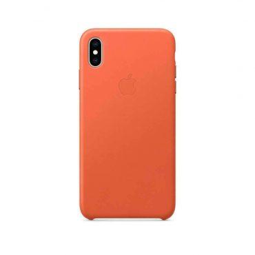 كفر جلدي أصلي لآيفون XS Max من Apple - برتقالي فاتح