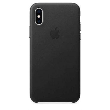 كفر جلدي أصلي لآيفون XS من Apple - أسود