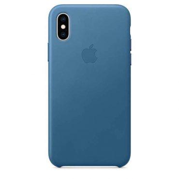 كفر جلدي أصلي لآيفون XS  من Apple - أزرق