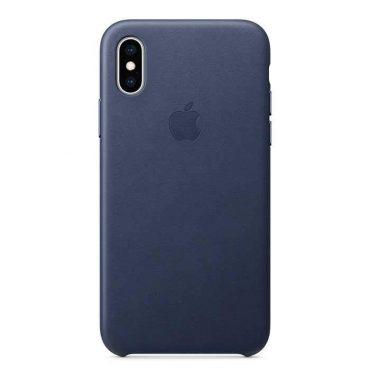 كفر جلدي أصلي لآيفون XS من Apple - أزرق داكن