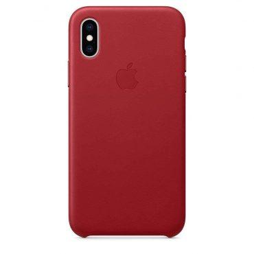 كفر جلدي أصلي لآيفون XS من Apple - أحمر