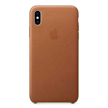 كفر جلدي أصلي لآيفون XS من Apple - بني رملي
