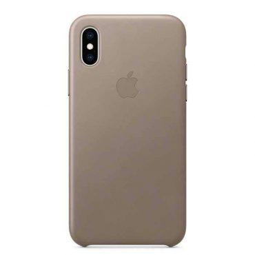 كفر جلدي أصلي لآيفون XS من Apple - رمادي داكن