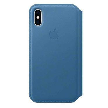 كفر جلدي أصلي دفتر لآيفون XS من Apple - أزرق ناعم