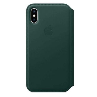 كفر جلدي أصلي دفتر لآيفون XS من Apple - أخضر داكن
