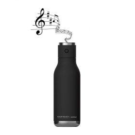 زجاجة ماء مع غطاء مكبر صوت Asobu - Wireless Stainless Steel Water Bottle with a Speaker Lid 17 Ounce - أسود
