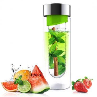 زجاجة ASOBU - Glass Water Bottle With Fruit Infuser 600 ml - أخضر