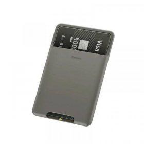 حافظة بطاقات Baseus back stick silicone card bag – رمادي غامق