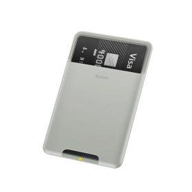 حافظة بطاقات Baseus back stick silicone card bag – رمادي فرنسي