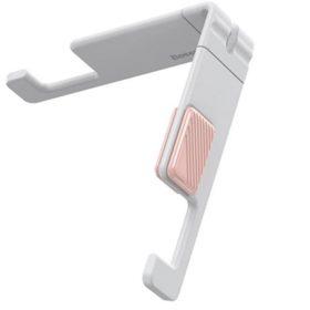 حامل الهاتف الذكي لسطح المكتب Baseus Portable & Mini Mobile Phone Holder أبيض وزهري
