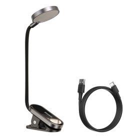 لمبة مكتب محمولة Baseus Comfort Reading Mini Clip Lamp– رمادي غامق