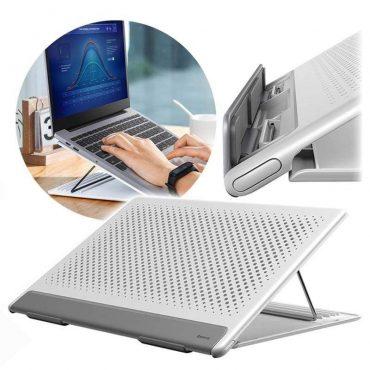 حامل لابتوب قابل للطي Baseus Let''s go Mesh Portable Laptop Stand – أبيض / رمادي