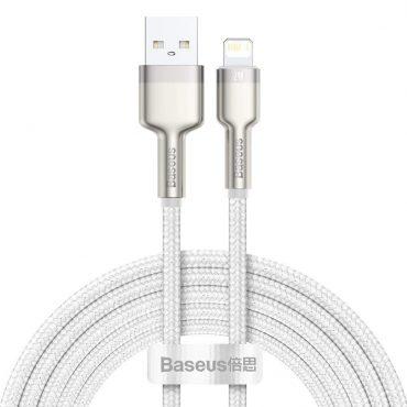 كابل Baseus Cafule Series Metal Data Cable USB to IP 2.4A 1متر ابيض