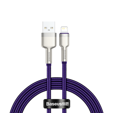 كابل Baseus Cafule Series Metal Data Cable USB to IP 2.4A 2 متر أرجواني
