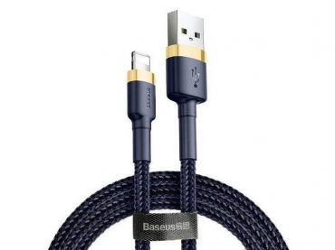 كابل Baseus cafule Cable USB For iP 2.4A 1 متر - أزرق / ذهبي